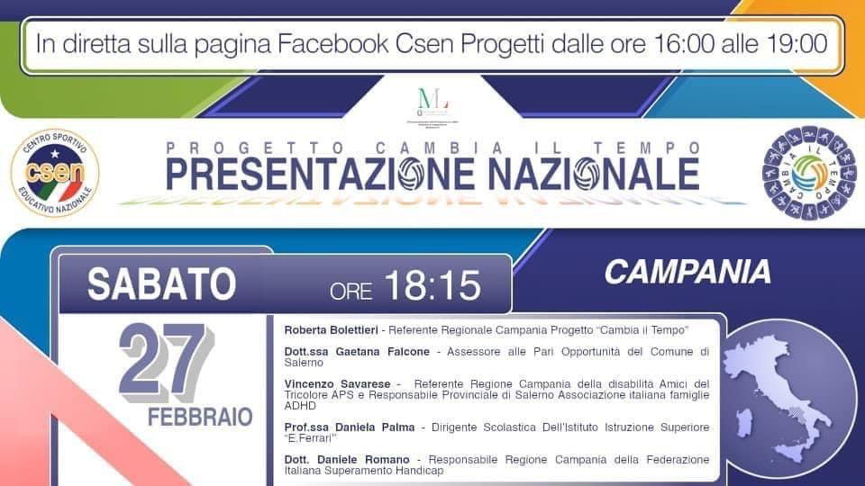 """""""Progetto cambia il tempo"""" presentazione nazionale Campania"""